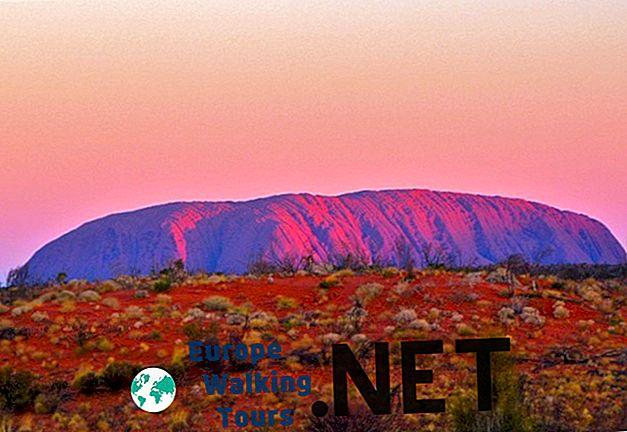 호주의 상징적 인 울 루루를 9 가지 색상으로 보아줍니다.